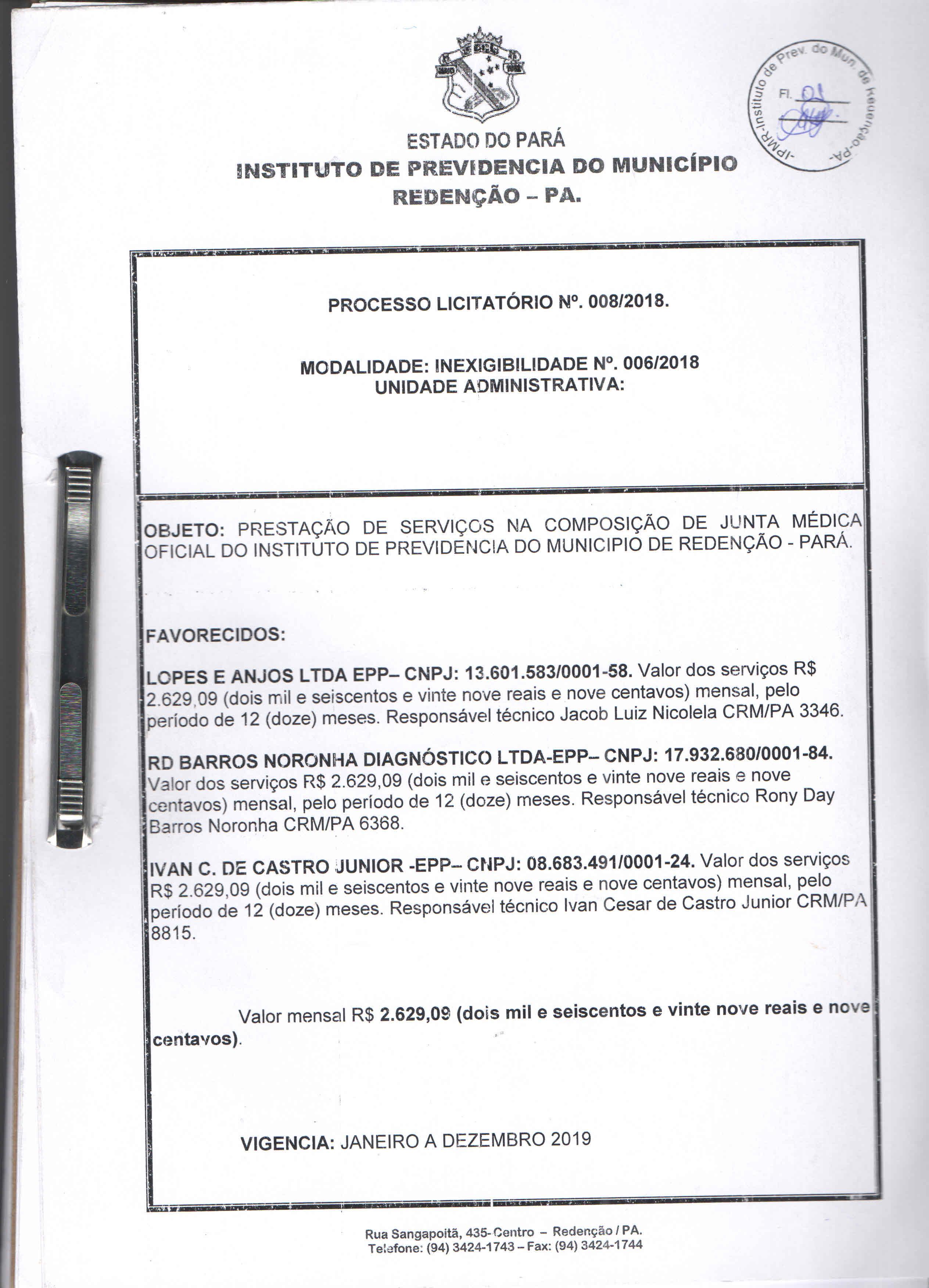 Licitação 008/2018 – PRESTAÇÃO DE SERVIÇOS NA COMPOSIÇÃO DE JUNTA MÉDICA